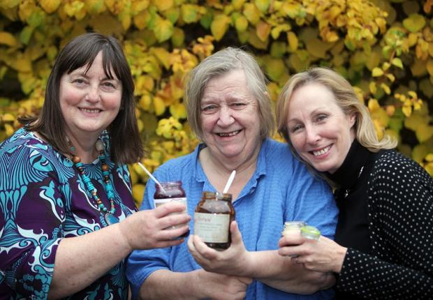 Festival organiser Brenda McLoughlin with Clarissa Dickson Wright and Elaine Lemm