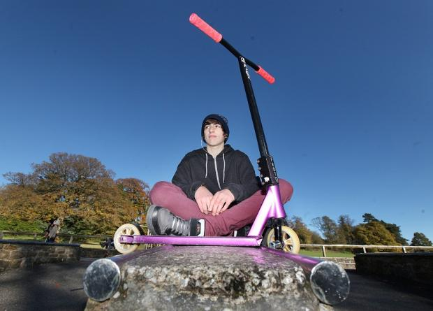 Craven Herald: Jay Harrison, who has won an award for his scooter tricks