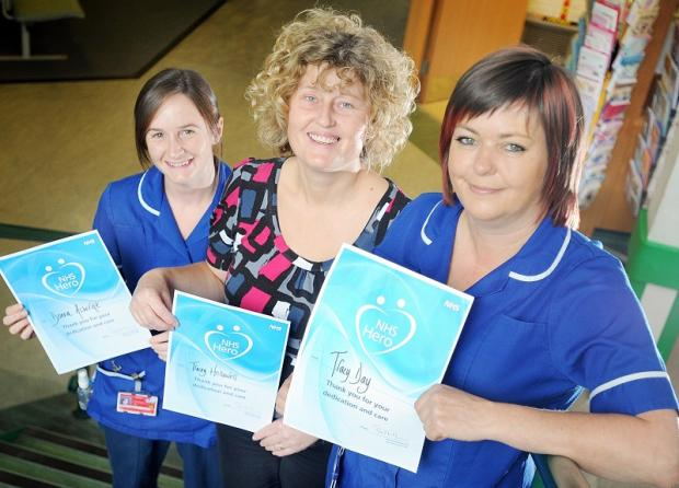Airedale NHS Trust's heroes, from the left, Donna Ashcroft, Tracey Hellawell and Tracy Day