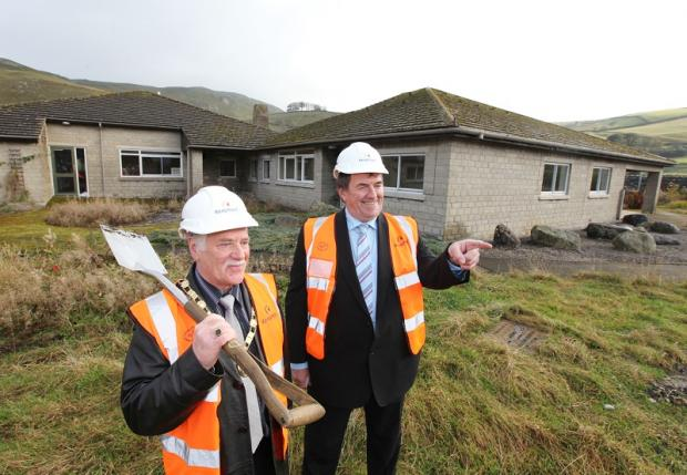 Councillor Donny Whaites and Richard Welch at the ceremony to mark the start of the extra-care housing project