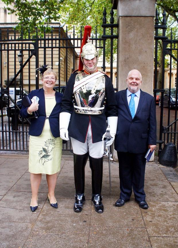 Craven Herald: Ken Allinson with former colleague Carol Treweek and a Household Cavalryman