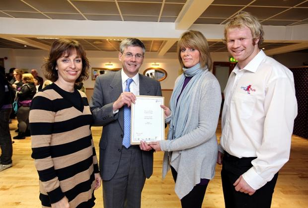 Course tutor Yvonne Blake, principal Robert Bellfield, award winner Caroline Grange and guest speaker Sam Boatwright