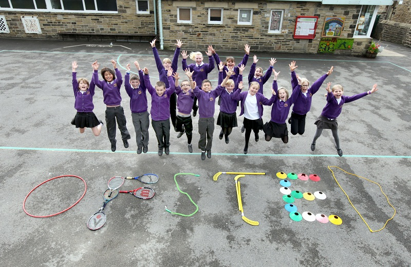 Pupils at Carleton School jump for joy