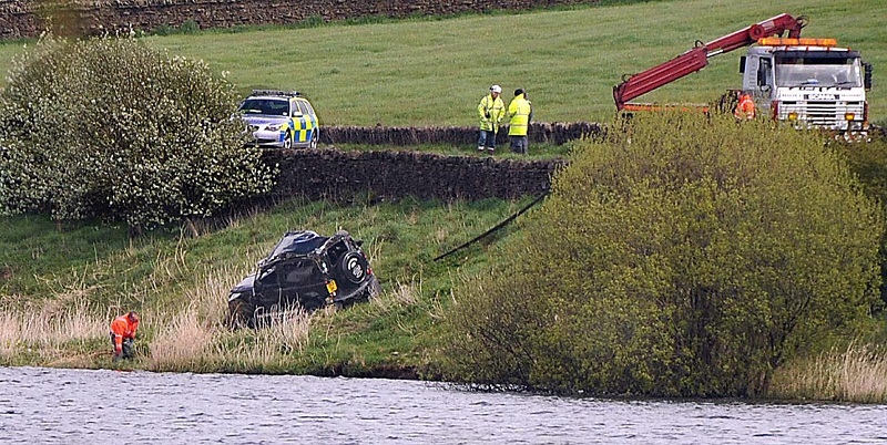 The accident on the A65 at Chelker Reservoir where a Land Rover ended up in the water