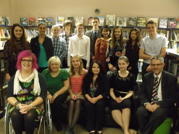 South Craven School Year 13 prize winners with, front, far left, former pupil Emily Yates and, right, headteacher Dr Andrew Cummings