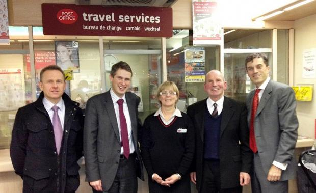 Craven Herald: Julian Smith, far right, with Grassington sub-postmaster Chris Davey, Gavin Williamson and Lynn and Graham Scruton from Settle Post Office