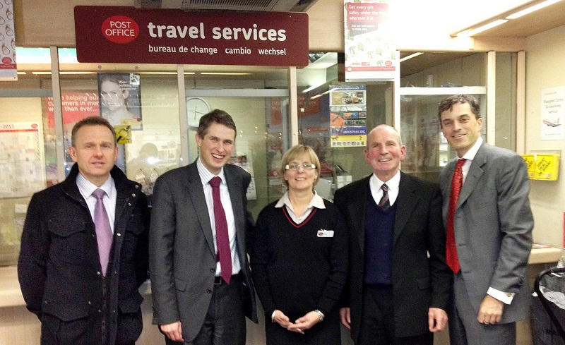 Julian Smith, far right, with Grassington sub-postmaster Chris Davey, Gavin Williamson and Lynn and Graham Scruton from Settle Post Office