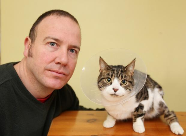 Craven Herald: Mark Wilson with family cat Otto