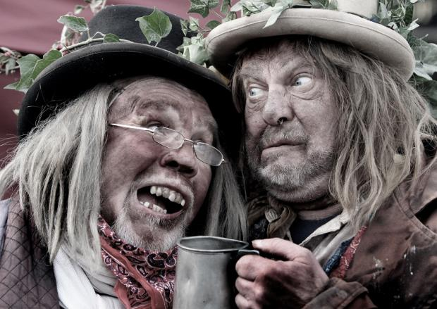Craven Herald: Members of Penny Plain theatre company Richard Emmitt and Andrew Jackson share a tipple