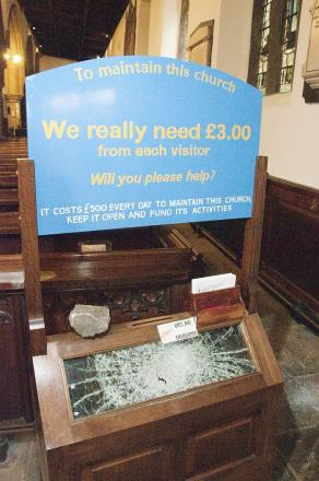 The collection box smashed by thieves