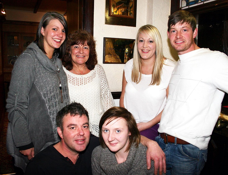 Katie, Helen, Louise and Kristian Hodgson with new licensees John Roberts and Chloe Edwards