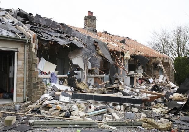 The bungalow in Airton, which was severely damaged in an explosion