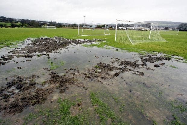 Waterlogged: Silsden Whitestar's pitch at Keighley Road last week