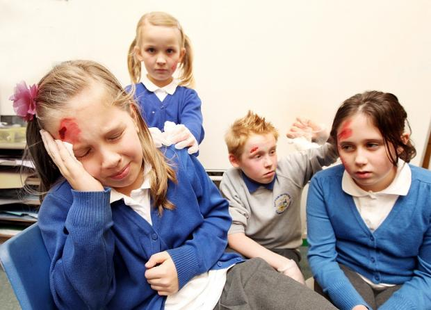 Sutton Primary pupils Adrianna Strazieri, Amy Webber, Zak Williams and Bryony Neely get into character