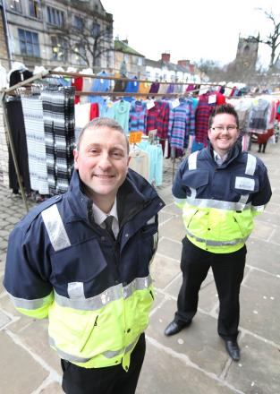 Skipton Council's market manager Stefan Bodnarczuk with town centre manager Brett Butler