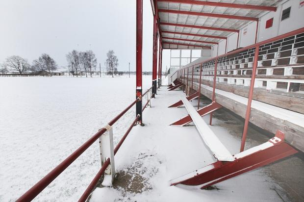 The snowy scene at Skipton's Sandylands ground