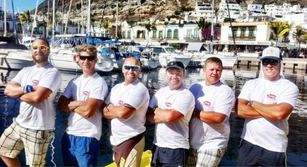 Skipton man Mike Buckley (far left) is one of a team of six people who are attempting to row the Atlantic Ocean to raise money for Help for Heroes