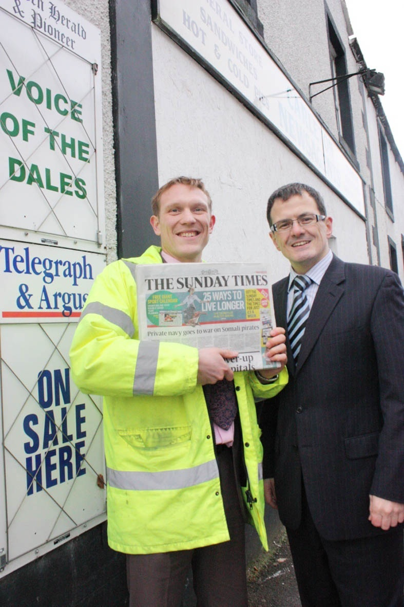 Gareth Wooler and Declan Hayes at the newsagents