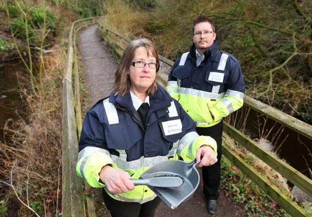 Town centre ambassadors Judith Probst and Brett Butler are urging dog owners to clean up after their animals along Skipton's scenic towpaths