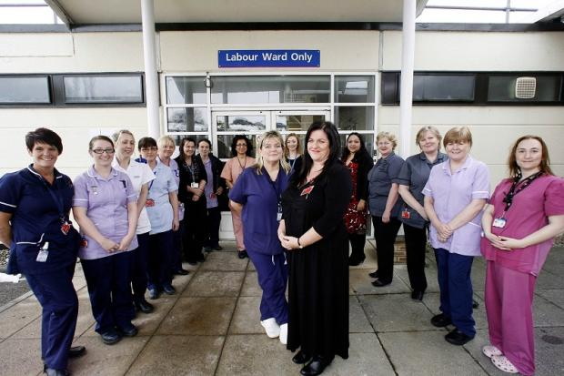 Staff from Airedale Hospital's maternity unit celebrate the grant with head of midwifery Claire Mathews, centre