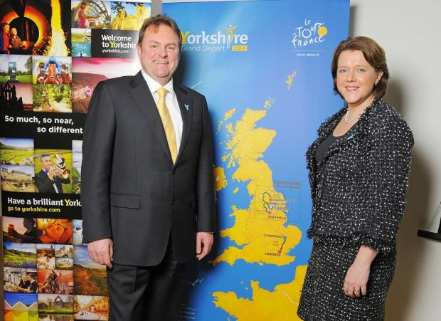Welcome to Yorkshire chief executive Gary Verity with Culture Secretary Maria Miller