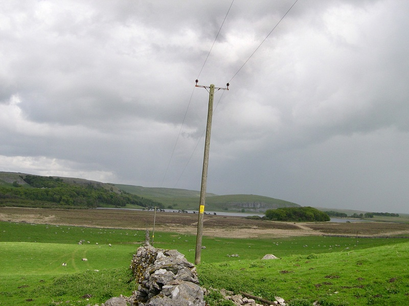 The power cables at Malham where primitive tools have been discovered