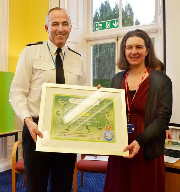 Kate Hilditch with Chief Constable Tim Madgwick
