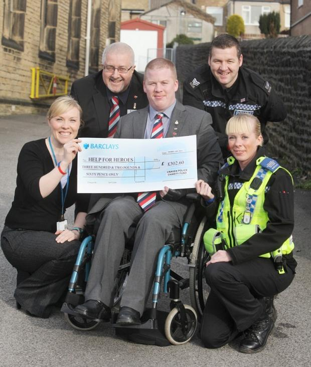 PC Kirsty Graham, Tony Linden from Help for Heroes, PCSO Sarah Hargreaves, Antony Went and Sgt Paul Evans