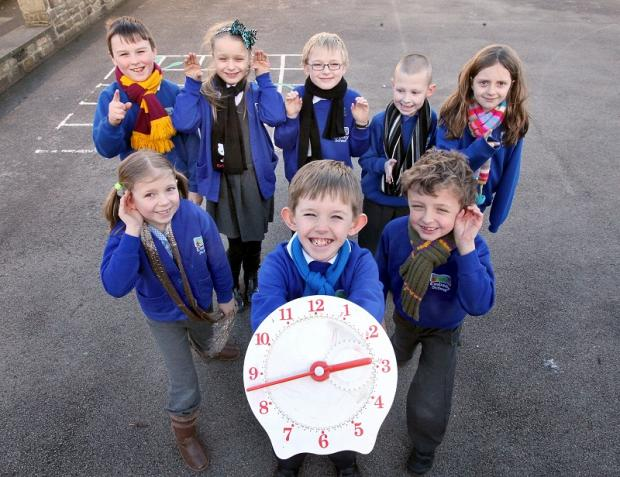 Embsay Primary School pupils Robbie Plunkett, Isabelle Lynam, Jack Tiler, James Thompson and Emily Preston. Front Alicia Heseltine, Charlie Smith and Ethan Wilson