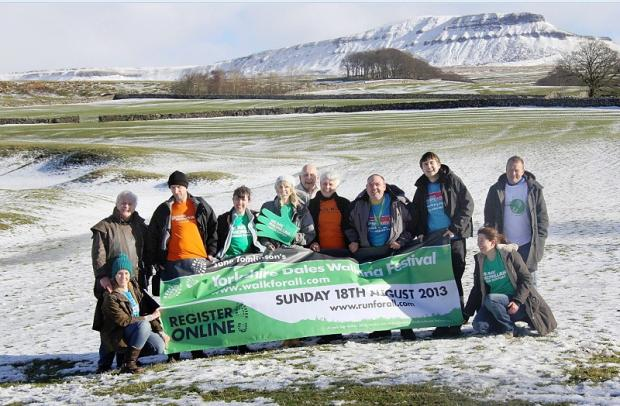 The launch of the Yorkshire Dales Walking Festival, including artist Ashley Jackson, far left, and Mike Tomlinson, far right