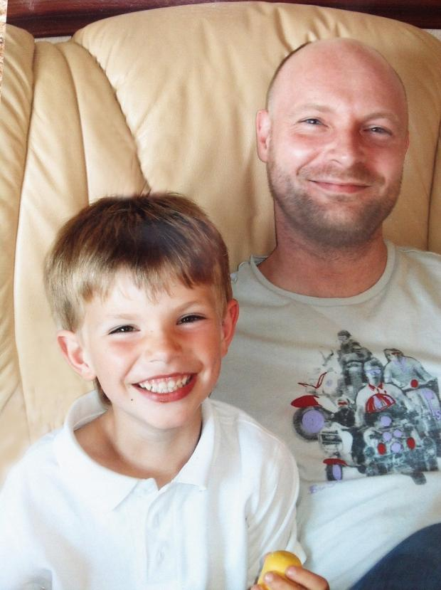 Finn Robinson with his dad Adam Robinson