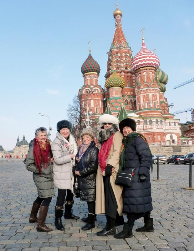 Calendar Girls in Moscow, from left, Christine Clancy, Lynda Logan, Ros Fawcett, Tricia Stewart and Angela Baker