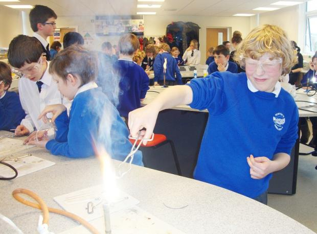 Henry Pilkington from Horton-in-Ribblesdale Primary School burning magnesium