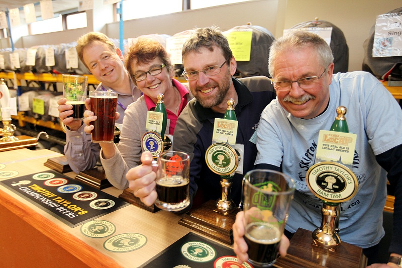 Skipton Beer Festival organisers Ian Berry, Lynda Smith, Richard Candeland and Graham Cundall