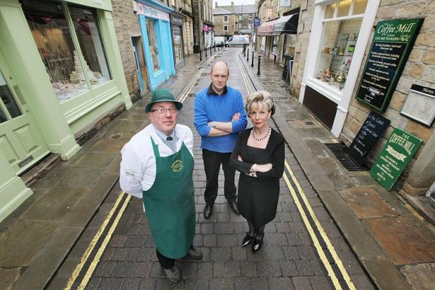 Ian Thompson of Drake and Macefields, Paul Watson of Coffee Mill and Fanticy Cakes and Christine Gardiner of Christines Hairstyles in Otley Street