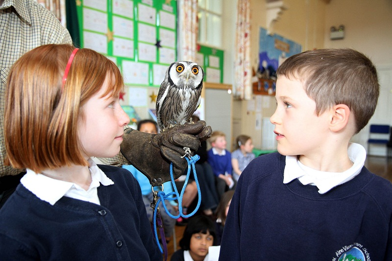 Aire View pupils Kaye Fenton and Camron Hill meet a white-faced scops owl