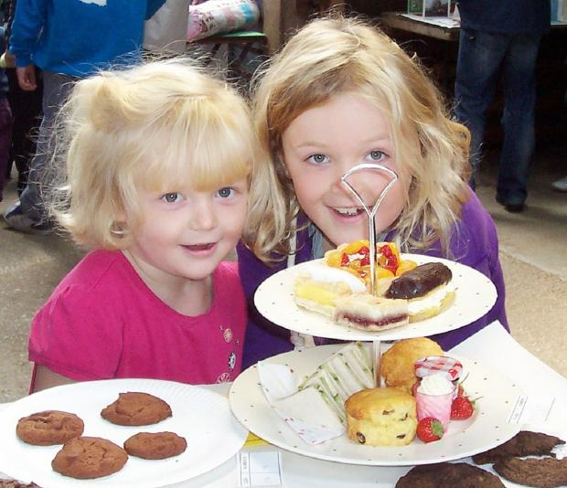 TREATS: Amy Wallbank, four, and sister Emma, seven, of Low Gill, with some cakes