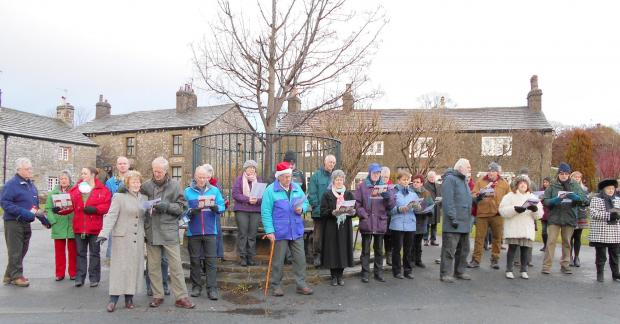 Villagers in Langcliffe gather on Christmas morning