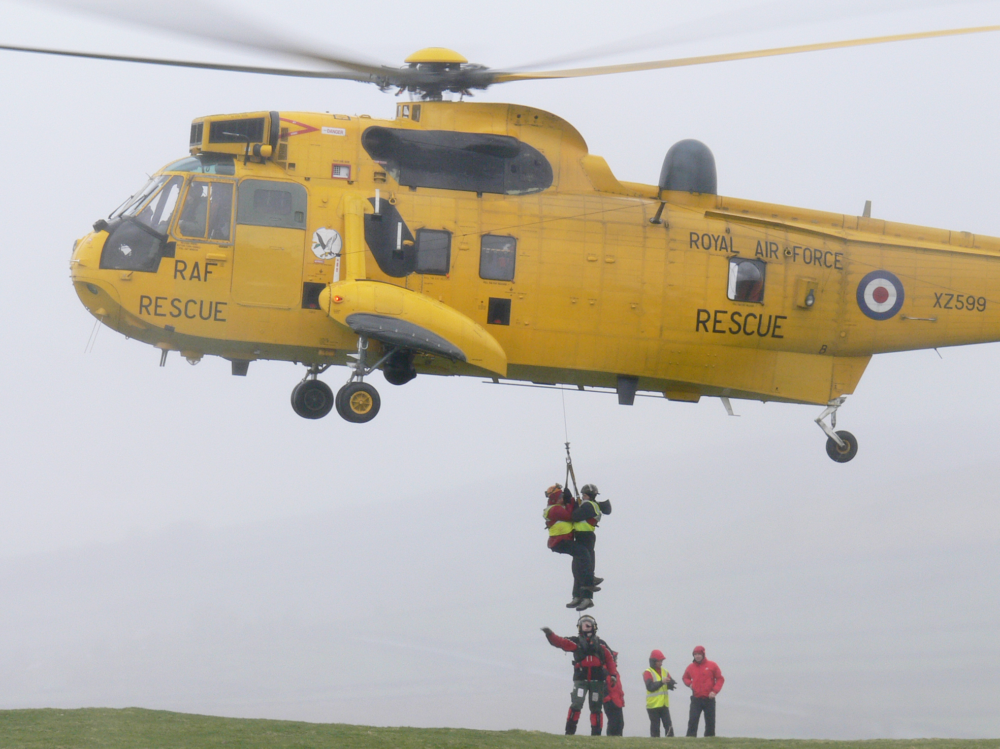 A rescue operation with the assistance of an RAF helicopter