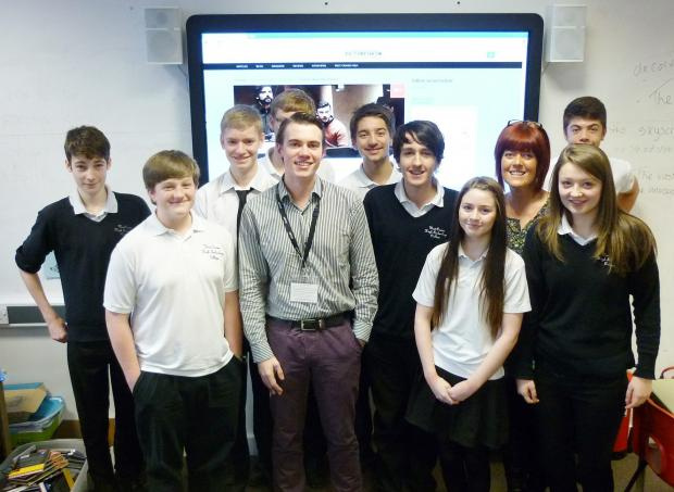 Josh Hammond with students from West Craven High Technology College