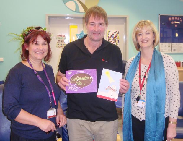 Chris is pictured receiving his prize from Louise Jocelyn, senior occupational therapist (left) and Val Convery, patient advice and liaison service (PALS) officer.