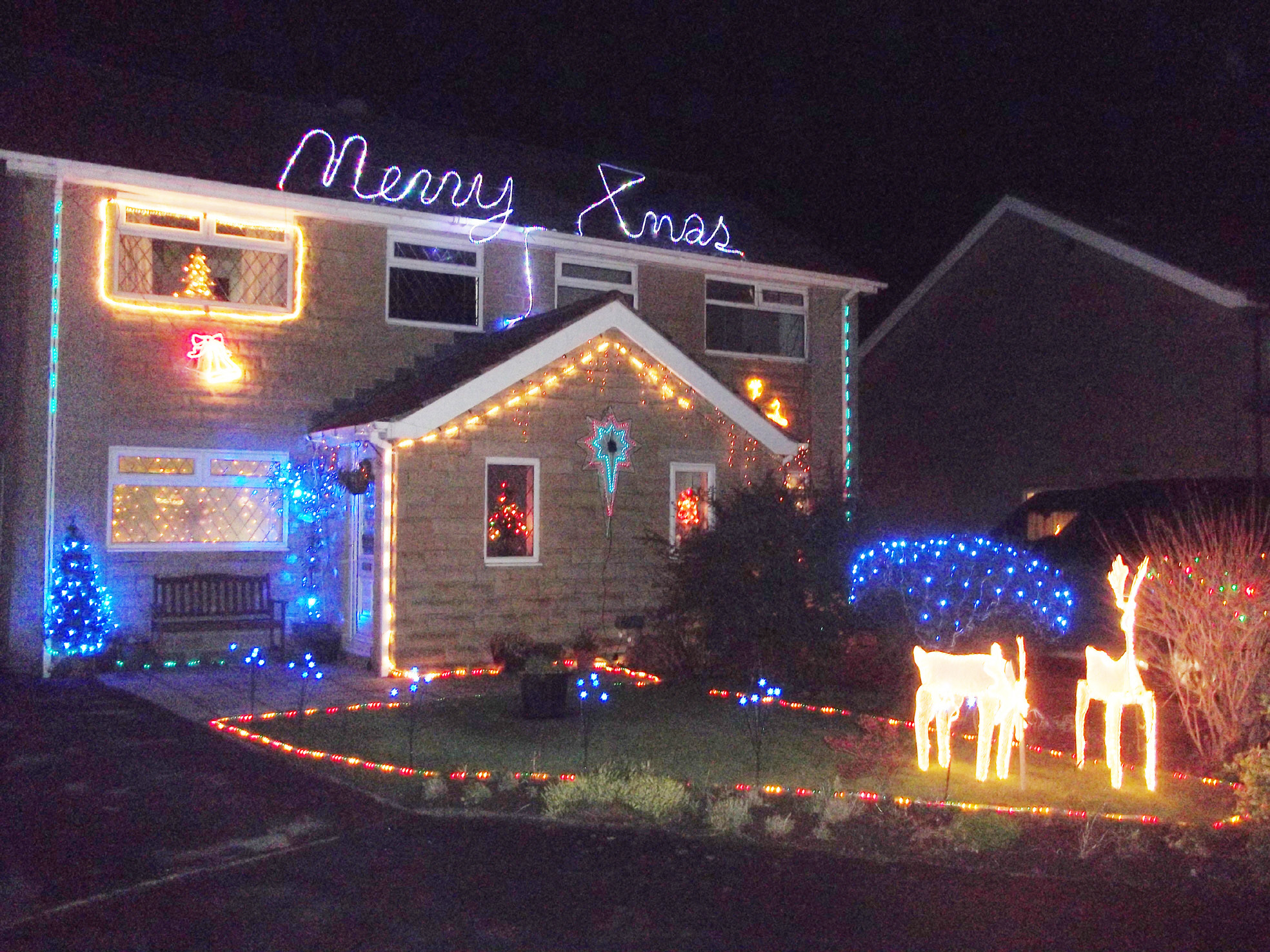 Festive lights: One of the houses in Rowan Garth