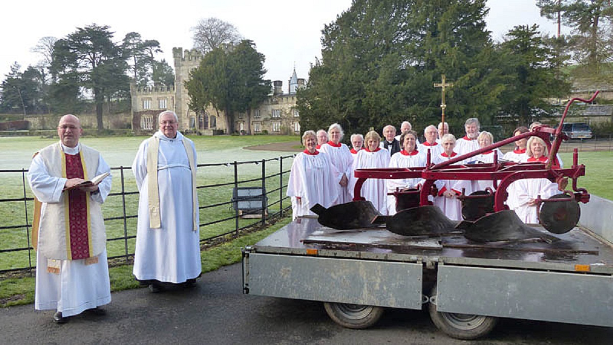 The Rev Simon Cowling is pictured (far left) at the blessing.