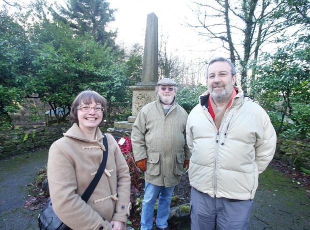 Parish councillors Eddie Cullen, Stephen Cohen and clerk Esther Barrows at Lothersdale War Memorial