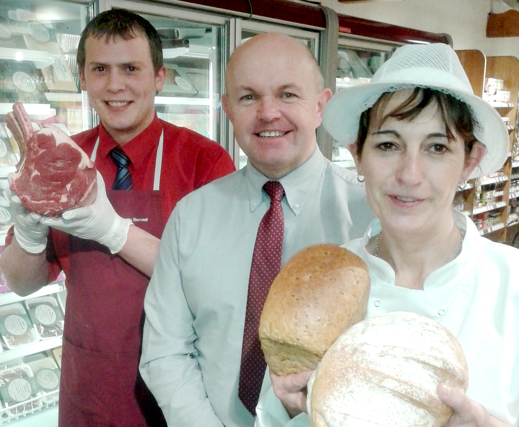 Butcher George Taylor, managing director Mike Clark and bakery manager Angela Danskin