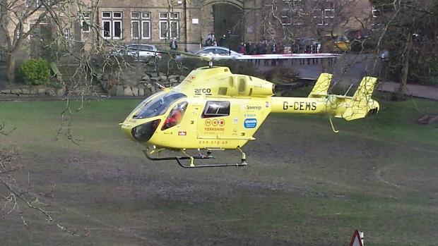 The Yorkshire Air Ambulance flies the injured woman to hospital