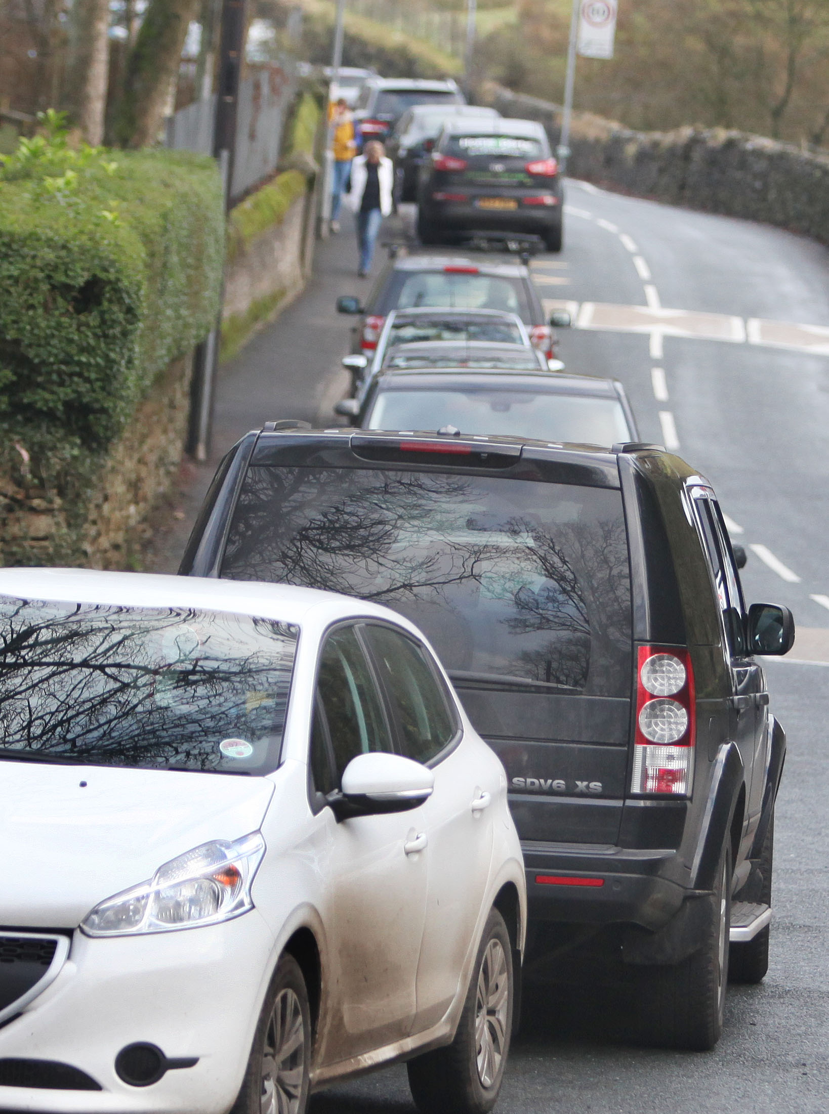 Cars parked near Lothersdale Primary School