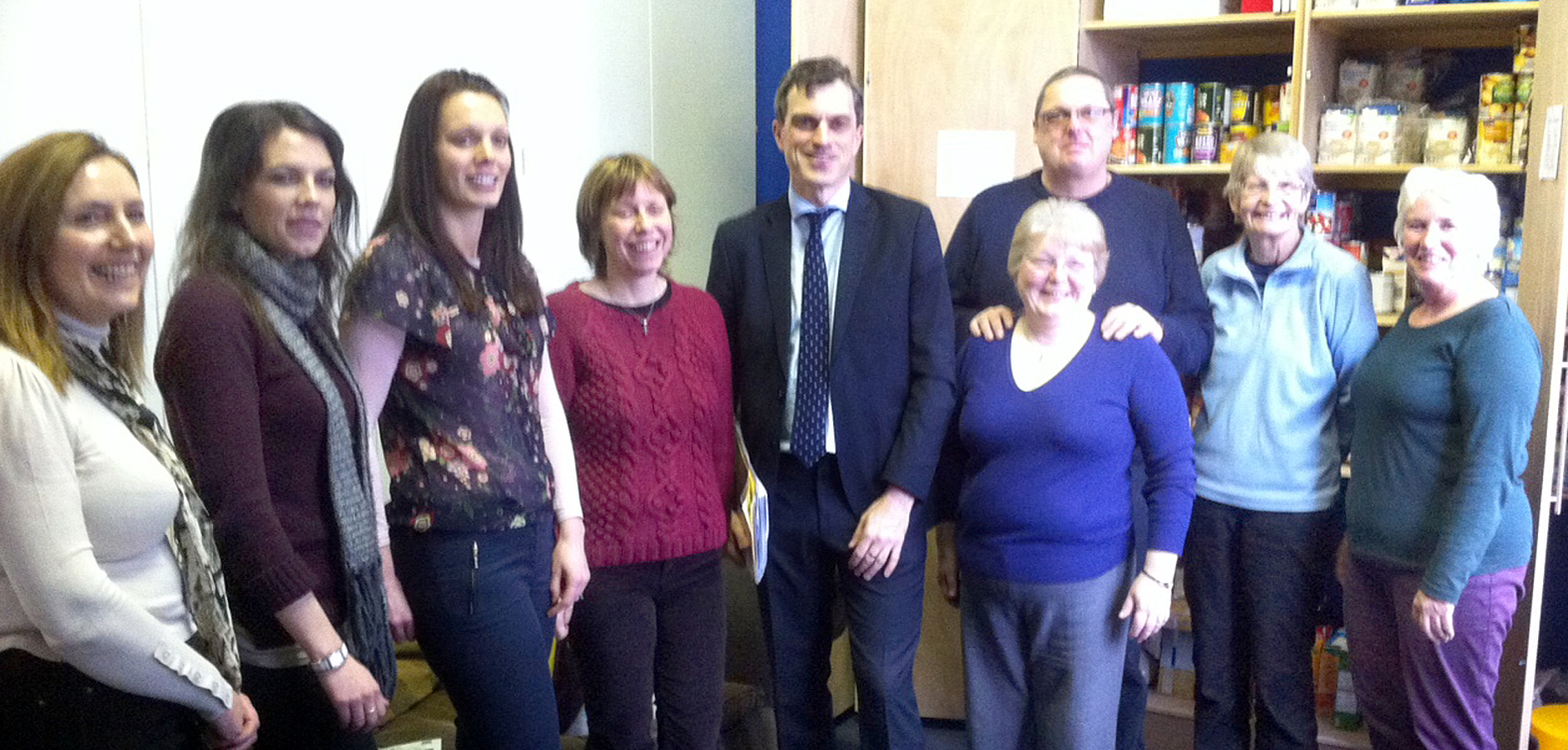 Skipton MP Julian Smith (centre) meets the team at Skipton Foodbank