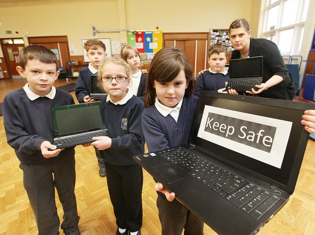 Pupils Noah Smith, Abigail Thompson, Diesel Turner, Aimee Parker, Katheryn Callaghan, James Hartwell and Rebbecca Wilcock take part in Safer Internet Day