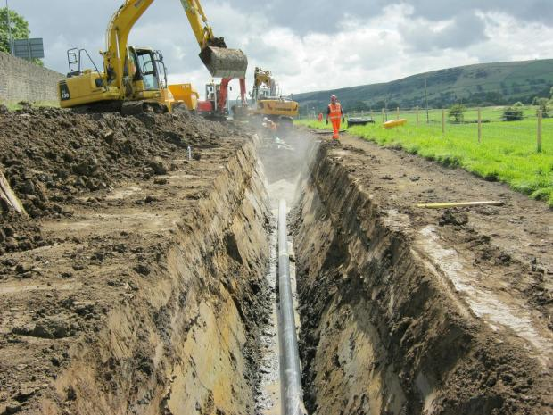 Work on the aging pipe in Bradley which Yorkshire Water says will reduce the risk of pollution